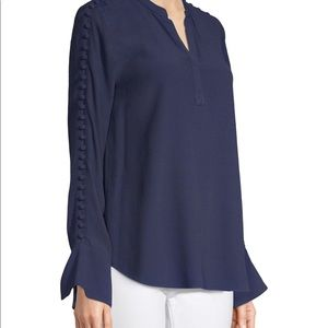 NWT JOIE BUTTON-EMBELLISHED CREPE BLOUSE TOP